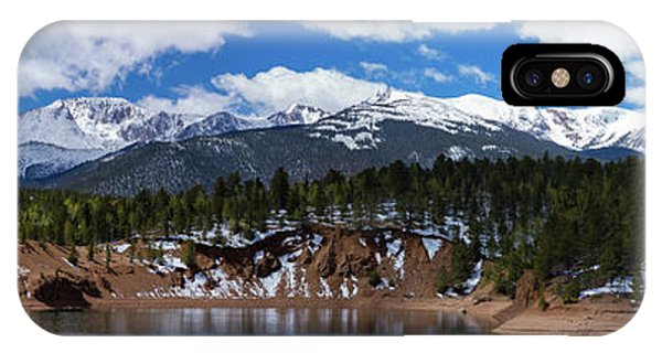 Fourteener iPhone Case - Panorama Of South Catamount Reservoir With Pike's Peak Covered I by Bridget Calip