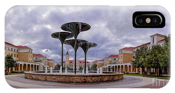 Panorama Of Texas Christian University Campus Commons And Frog Fountain - Fort Worth Texas IPhone Case