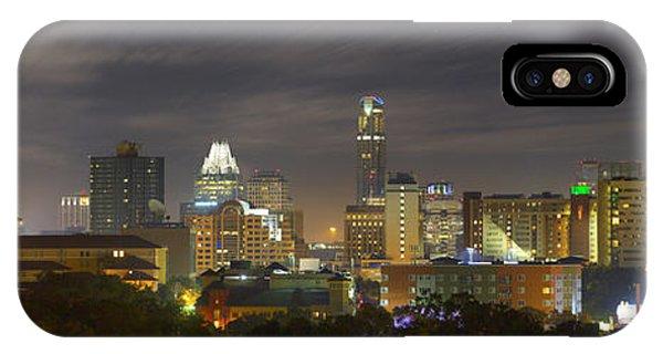 Austin Skyline iPhone Case - Panorama Of The Austin Skyline On A September Morning by Rob Greebon