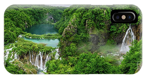 Panorama Of Turquoise Lakes And Waterfalls - A Dramatic View, Plitivice Lakes National Park Croatia IPhone Case