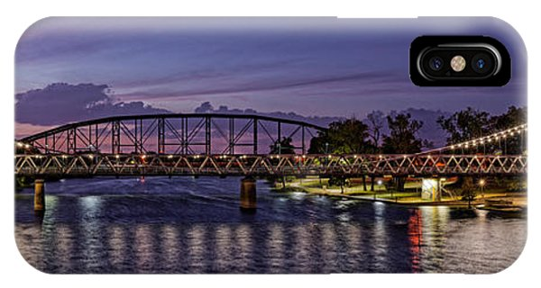 Panorama Of Waco Suspension Bridge Over The Brazos River At Twilight - Waco Central Texas IPhone Case