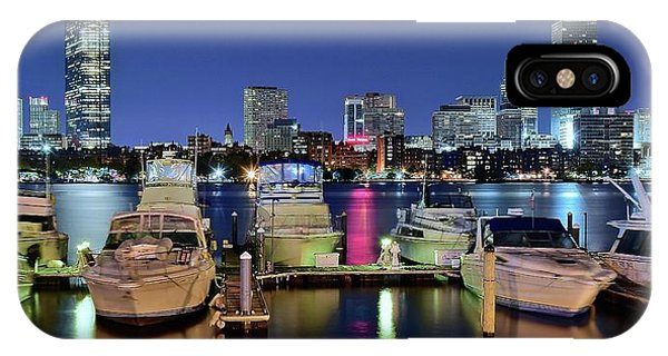 Bean Town iPhone Case - Panoramic Boston Harbor Night View by Frozen in Time Fine Art Photography