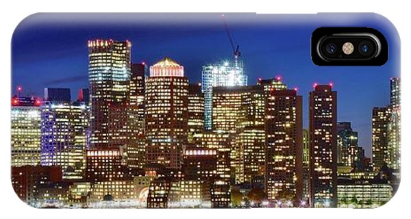 Bean Town iPhone Case - Panoramic Lights On A Boston Night by Frozen in Time Fine Art Photography