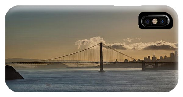 Panoramic View Of Downtown San Francisco Behind The Golden Gate  IPhone Case