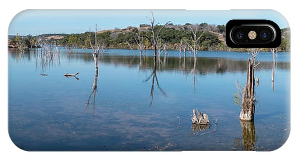 Panoramic View Of Large Lake With Grass On The Shore IPhone Case