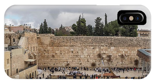 Panoramic View Of The Wailing Wall In The Old City Of Jerusalem IPhone Case