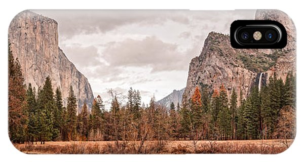Panoramic View Of Yosemite Valley From Bridal Veils Falls Viewing Point - Sierra Nevada California IPhone Case