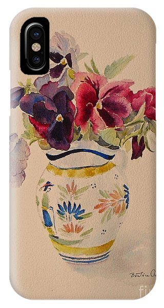 Pansies In A Quimper Pot IPhone Case
