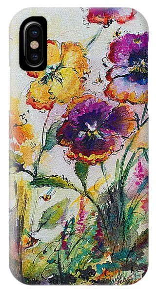 Pansies In My Garden Watercolor And Ink IPhone Case