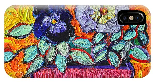 Table For Two iPhone Case - Pansies Love by Ana Maria Edulescu