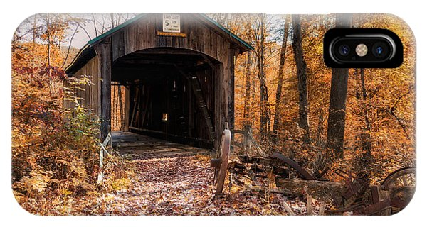 Foliage iPhone Case - Pappy Hayes Covered Bridge by Tom Mc Nemar