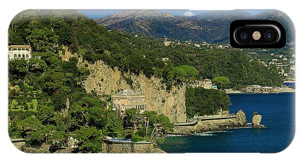 Paraggi Bay Castle And Liguria Mountains Portofino Park  IPhone Case