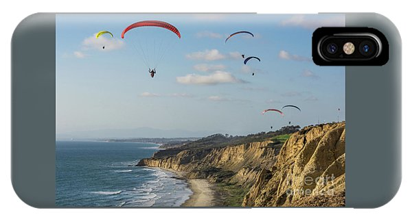 Paragliders At Torrey Pines Gliderport Over Black's Beach IPhone Case