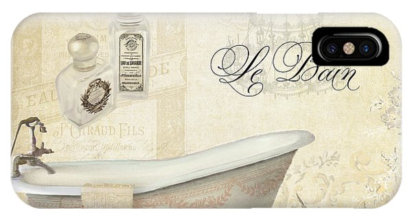 Perfume Bottles iPhone Case - Parchment Paris - Le Bain Or The Bath Chandelier And Tub With Roses by Audrey Jeanne Roberts