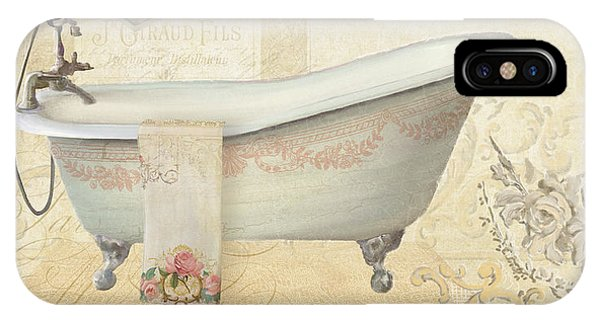 Parchment Paris - Le Bain Or The Bath Chandelier And Tub With Roses IPhone Case