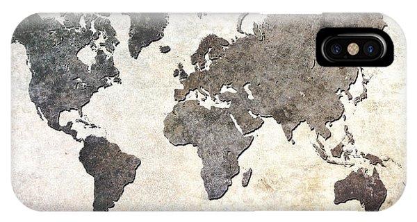 Gray iPhone Case - Parchment World Map by Douglas Pittman