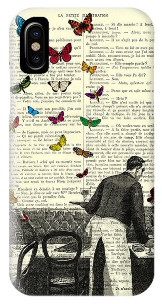 Paris iPhone Case - Inside Of A French Bistro At Paris And Rainbow Butterflies by Madame Memento