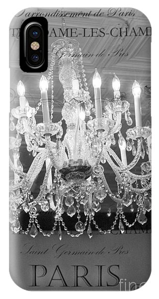 Paris Black And White Crystal Chandeliers - French Parisian Black White Crystal Chandelier Art IPhone Case