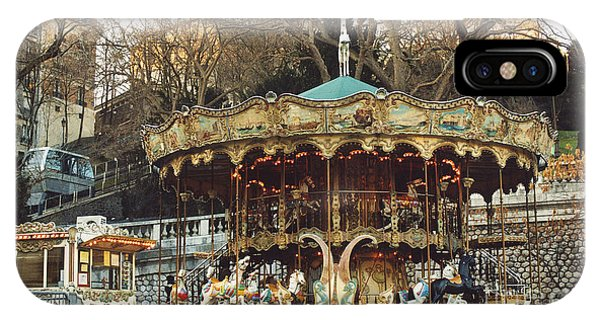 Carousel iPhone Case - Paris Carousel At Montmartre - Sacre Coeur Cathedral Carousel Merry Go Round  by Kathy Fornal