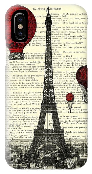 Hot Air Balloons iPhone Case - Paris, City Of Love by Madame Memento