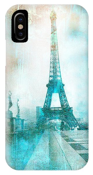 Cute iPhone Case - Paris Eiffel Tower Aqua Impressionistic Abstract by Kathy Fornal