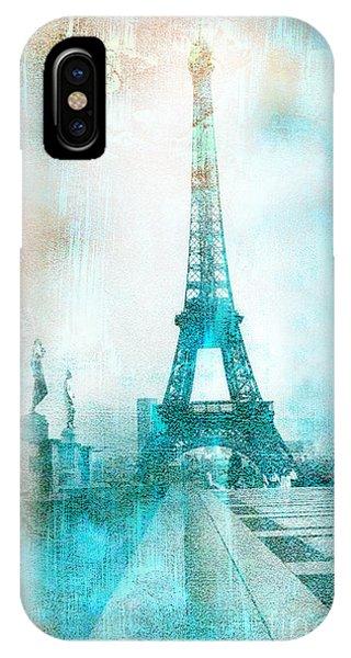 Paris Eiffel Tower Aqua Impressionistic Abstract IPhone Case