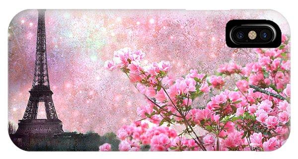 Paris Eiffel Tower Cherry Blossoms - Paris Spring Eiffel Tower Pink Cherry Blossoms  IPhone Case