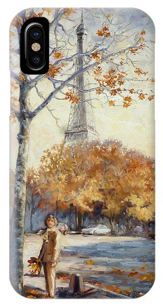 Paris Fall In Trocadero Park IPhone Case