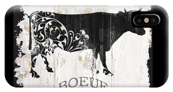 Cow iPhone X / XS Case - Paris Farm Sign Cow by Mindy Sommers