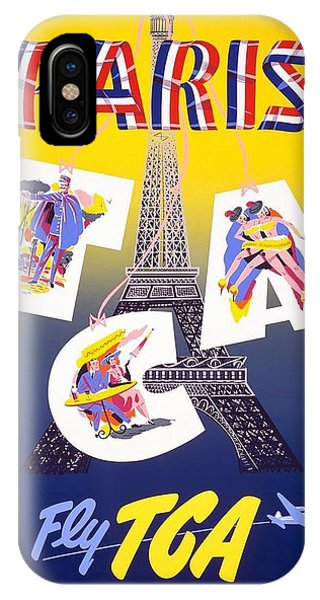 Advertising iPhone Case - Paris - Fly Tca, Trans Canada Air Lines - Eiffel Tower - Retro Travel Poster - Vintage Poster by Studio Grafiikka