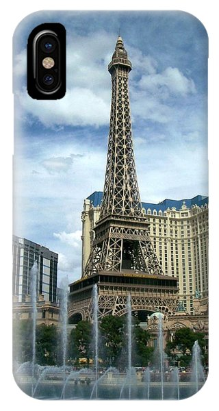 Paris Hotel And Bellagio Fountains IPhone Case