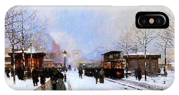 Avenue iPhone Case - Paris In Winter by Luigi Loir