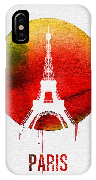 Paris iPhone Case - Paris Landmark Red by Naxart Studio