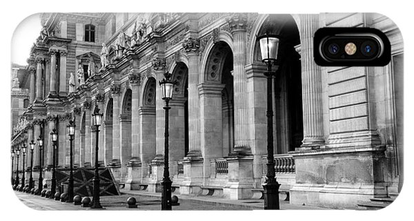 The Louvre iPhone Case - Paris Louvre Black And White Architecture - Louvre Lantern Lights by Kathy Fornal