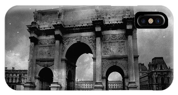 The Louvre iPhone Case - Paris Louvre Entrance Arc De Triomphe Architecture - Paris Black White Starry Night Monuments by Kathy Fornal