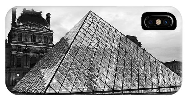 The Louvre iPhone Case - Paris Louvre Museum Pyramid Black And White - Paris Pyramid Twilight Sparkling Night Lights by Kathy Fornal