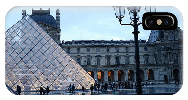 The Louvre iPhone Case - Paris Louvre Museum Pyramid Evening Dusk Blue Lights Lanterns Lamp Posts by Kathy Fornal