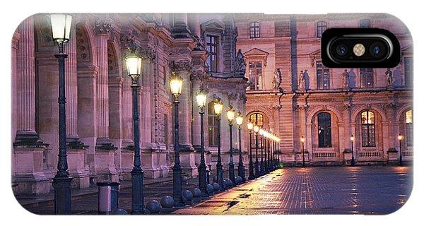The Louvre iPhone Case - Paris Louvre Museum Street Lanterns Night Landscape - Louvre Museum Architecture Rainy Night Lights  by Kathy Fornal