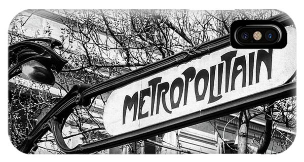 Paris Metro iPhone Case - Paris Metro Sign Bw by Joan Carroll