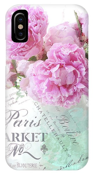 Peony iPhone Case - Paris Peonies Impressionistic Romantic Peony Peonies French Script Shabby Chic Decor by Kathy Fornal