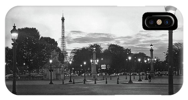 Concorde iPhone Case - Paris Place De La Concorde Lights - Paris Black And White Photography Night Lights  by Kathy Fornal