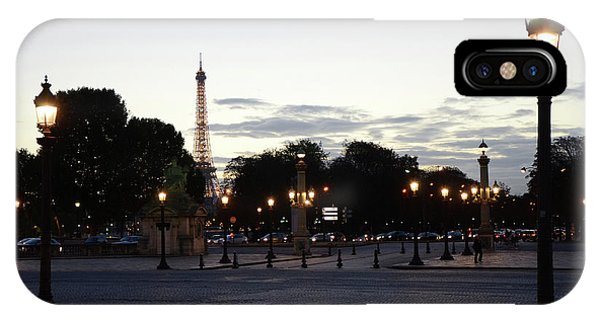 Concorde iPhone Case - Paris Place De La Concorde Plaza Evening Night Lights by Kathy Fornal