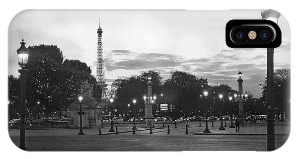 Concorde iPhone Case - Paris Place De La Concorde Plaza Night Lanterns Street Lamps - Black And White Paris Street Lights by Kathy Fornal