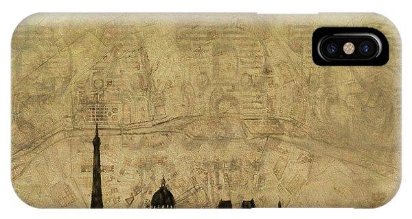 Traveler iPhone Case - Paris Skyline Postcard by Dan Sproul