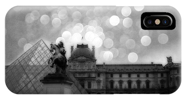 The Louvre iPhone Case - Paris Surreal Louvre Museum Pyramid Black And White Architecture by Kathy Fornal