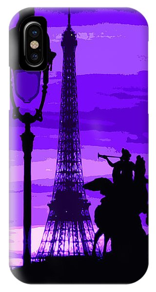 Abstract iPhone Case - Paris Tour Eiffel Violet by Yuriy Shevchuk