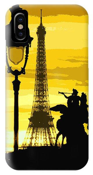 Yellow iPhone Case - Paris Tour Eiffel Yellow by Yuriy Shevchuk