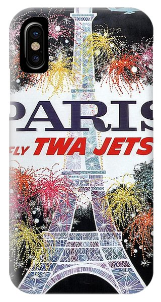 Paris - Twa Jets - Trans World Airlines - Eiffel Tower - Retro Travel Poster - Vintage Poster IPhone Case