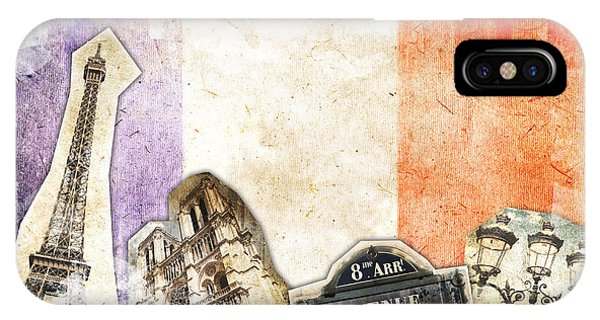Street Sign iPhone Case - Paris Vintage Collage by Delphimages Photo Creations