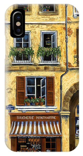 Street Sign iPhone Case - Parisian Bistro And Butcher Shop by Marilyn Dunlap